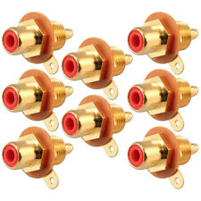 RCA Phono Chassis Panel Mount Gold Plated Female Socket Connector Red x 8