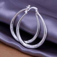 ASAMO Damen Ohrringe Creolen oval 925 Sterling Silber plattiert Ohrschmuck O1294