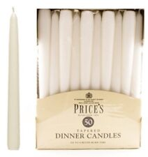 PRICES TAPERED DINNER CANDLES - 25CM -8 HOURS - IVORY - GREEN- RED - WHITE 1-100