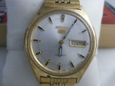 Seiko 5 Men's Automatic Watch W/Day & Date For Parts or Repair.