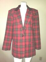 Nice Vtg. SAG HARBOR Size 18 Red Plaid Blazer Jacket Near Mint w/Pockets 1Button