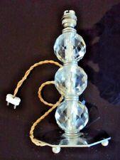 ANCIEN PIED DE LAMPE TROIS  BOULES EN CRISTAL ( BACCARAT ? )