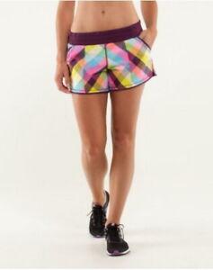Lululemon Plaid Shorts 4 Shake and Break Multi-color Sea Check Plum Rare NWT