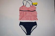 NWT NAUTICA swimwear 2pc set GIRL size 10 red navy blue
