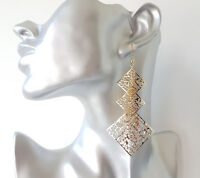 Gorgeous 9cm long gold tone filigree pattern diamond shape drop earrings