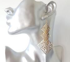 Gorgeous 9cm long gold tone filigree pattern diamond shape drop earrings