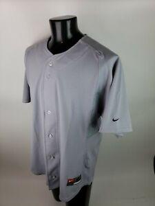 Vintage 90s Nike Baseball Jersey Men XL Gray Vented Team Swoosh