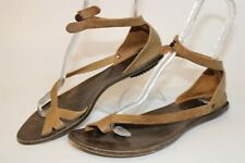 Cydwoq USA Made Womens 40 9 Brown Leather Toe Loop Gladiator Sandals Flats Shoes