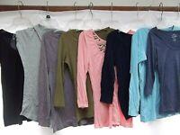 lot 8 knit T shirt sweater XS S v-neck AE JCrew Gap Pins Needles gray pink MINT