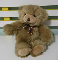 TOMFOOLERY TEDDY BEAR BROWN WITH STRIPEY BOW 28CM