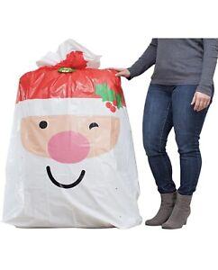 """Extra Large Bag Plastic Santa Gift bag 56"""" Jumbo Gift Bag for Big Presents"""
