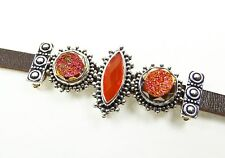 LORI BONN Sterling Silver Brown Leather Carnelian & Agate Druzy Slides Bracelet