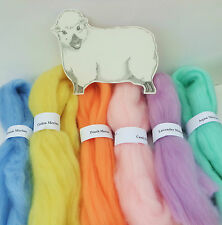 MERINO WOOL PRETTY PASTEL SHADES dyed wool tops / roving / needle felting  60g/
