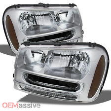 2002-2009 Chevy Trailblazer SUV Clear Replacement Headlights Front Lamps Pair