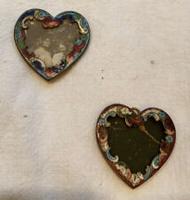 ANTIQUE HEART SHAPED CHAMPLEVE PICTURE FRAMES: PAIR