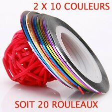 LOT 20 FIL BANDES STRIPING ROULEAUX TAPE AUTOCOLLANT STICKER ONGLE NAIL