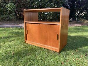 Retro Teak Veneer Mid Century Modern Record Storage Cabinet Side Cupboard