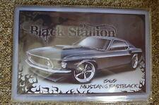 Black Mustang 1969 Car Tin Metal Sign Painted Poster Comics Book Wall Art Garage