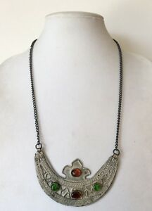 Unique!!! Artisan Nickel Silver Orange and Green Glass Collar Necklace