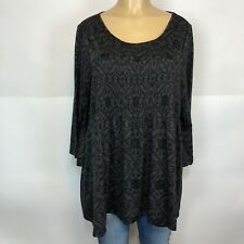 Avenue Burnout Charcoal Stretch Tee Shirt Women Size 18/20 Casual 3/4 Sleeve Top