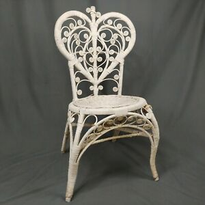 Vintage Heart Wicker Chair Boho Cottage Home Parlor Vanity Seat Wedding Shower