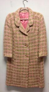 Classic 1960s Pink Wool Boucle Coat UK 10-12