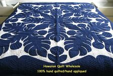 Hawaiian quilt BEDSPREAD FULL/TWIN HANDMADE 100% hand quilted/appliquéd NAVY