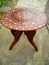 BEAUTIFUL ANTIQUE INLAID FOLDING WOODEN SIDE TABLE