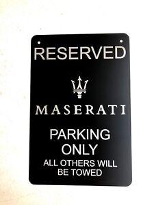 "Maserati Logo Parking Sign Diamond Etched on 12"" X 18"" Aluminum Matte Black"