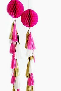 Paper Honeycomb ball with tassel tail - custom colors
