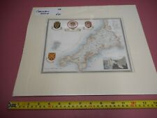 100% ORIGINAL CORNWALL MAP BY MOULE  C1836 VGC HAND COLOURED /MOUNTED