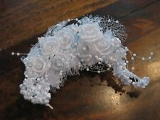 Kopfschmuck Blütenkranz Hochzeit ~ Handarbeit ~ weiße Rosen Perlen Netz #60 NEU