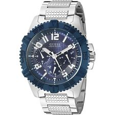 Guess Men's Oversized 46mm Blue Chrono Stainless Watch U0800G1 BRAND NEW!
