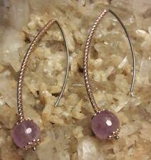 "Fine Sterling Silver Rose Gold Faceted Amethyst 2.25"" Threader Earrings"