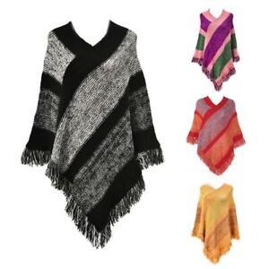 Women Ethnic Knit Poncho Cape Color Block Striped Tassels Pullover Sweater Shawl