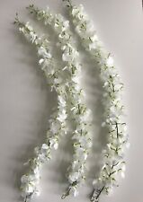 Pack of 3 Artificial Wisteria Garlands White Flowers 75 cm Long