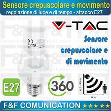 SENSORE CREPUSCOLARE SENSORE DI MOVIMENTO E27 ATTACCO E27 V-TAC SENSORE LAMPADA