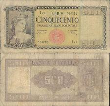 500 LIRE ITALIA ORNATA DI SPIGHE 1° DEC.20/03/1947