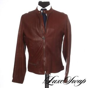 LNWOT Dolce & Gabbana Burnished Chestnut Cow Leather Cafe Racer Jacket Coat 52