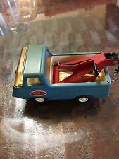 """Vintage 60's 70's Pressed Steel Mini Blue Tow Truck Approx. 4.5"""""""