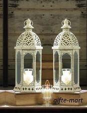 """2 White 16"""" shabby whitewashed Candle holder Lantern wedding table centerpiece"""