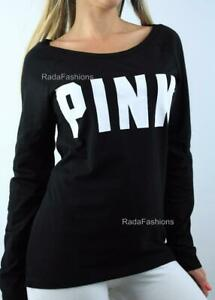 Victoria's Secret PINK Logo Crew Raglan Tee Long Sleeve Cotton Top Black White