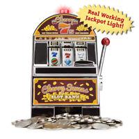 Cherry Sevens Casino Slot Machine Savings Bank with Spinnig Wheels Jackpot Light