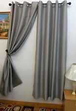 """Chelsea Faux Silk 56"""" X 84"""" Window Curtain with 8 Grommets Silver Color"""