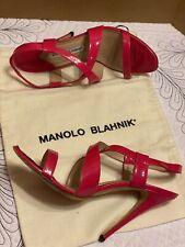 MANOLO BLAHNIK HOT PINK LEATHER CRISS CROSS SANDALS SIZE 38.5/8.5