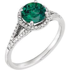 Diamante & Smeraldo Anello pietra zodiacale in 14k oro bianco (1/5 ct. TW