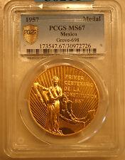 1957 1.2057 TROY OZ. GOLD MEXICO CENTENARIO DE LA CONSTITUCION PCGS MS-67>RARE<