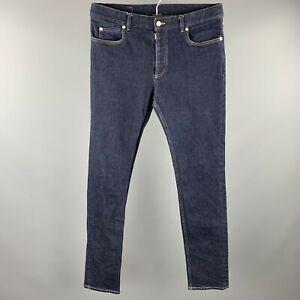 MAISON MARGIELA Size 32 Indigo Contrast Stitch Denim Button Fly Jeans