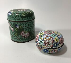 Antique Cloisonné Jars Boxes Lot Of 2 Enamel Metal Marked China Early Old Fine
