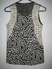Collective Concepts Black and White  Sleeveless Top w/ Crochet front Sides-S